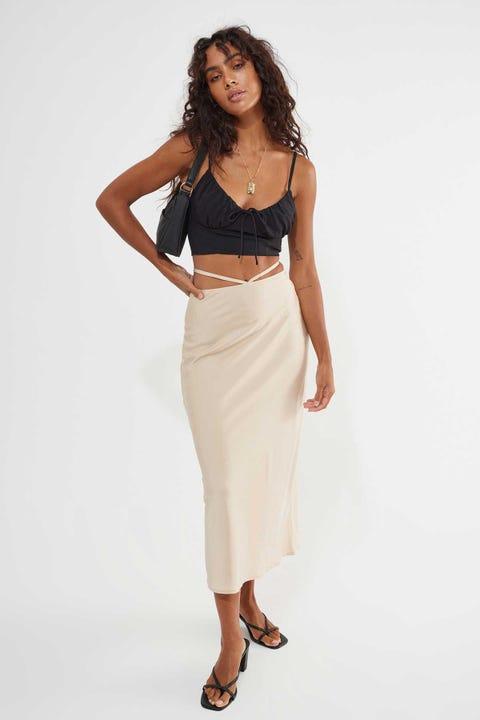 Perfect Stranger Strappy Waist Midi Skirt Cream