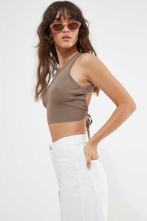 Luck & Trouble Dylan Backless Tie Top Dark Taupe