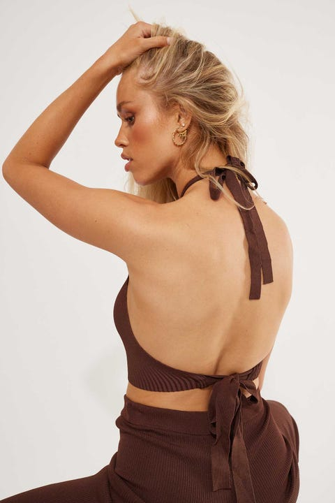 Perfect Stranger Dreamlover Knit Halter Top Chocolate