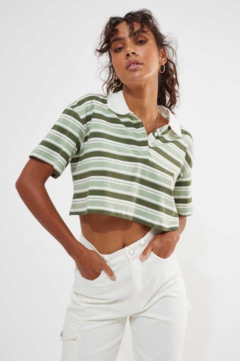 Luck & Trouble Dallas Polo Top Green Stripe