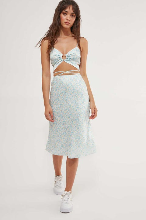 LUCK & TROUBLE Honey Skies Midi Skirt White Floral