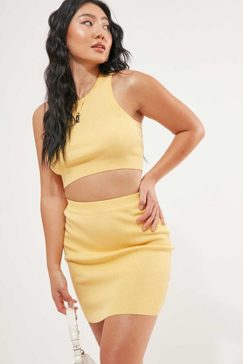 Perfect Stranger Knit Mini Skirt Yellow