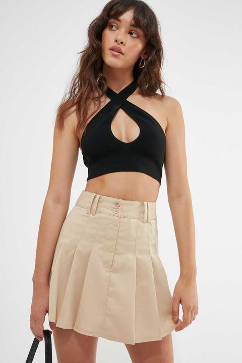 Luck & Trouble Pleated Mini Skirt nude