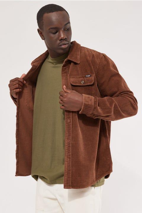 Wrangler Parallels LS Cord Shirt Chocolate