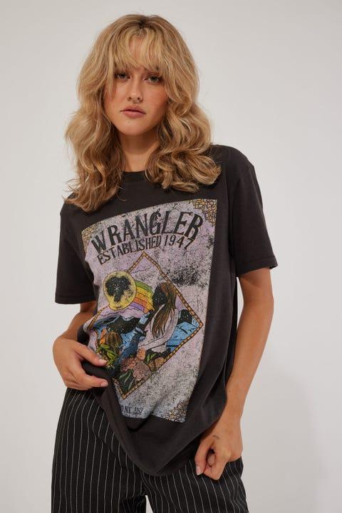 Wrangler In The Rough OS Tee Worn Black