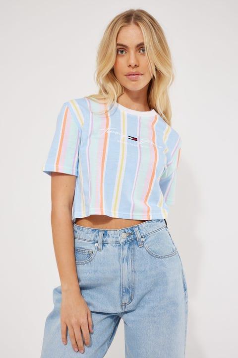 Tommy Jeans Stripe Crop Tee Light Powdery Blue/Stripe