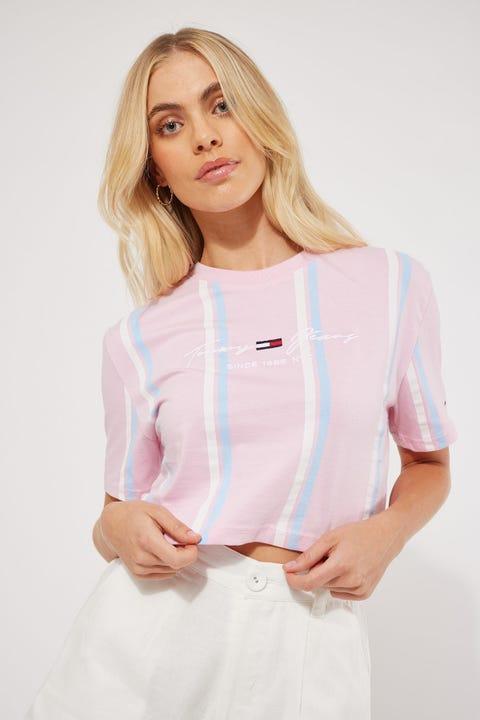 Tommy Jeans Stripe Crop Tee Romantic Pink/Stripe