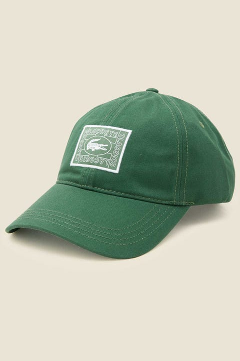 LACOSTE Postage Stamp Croc Cap Green