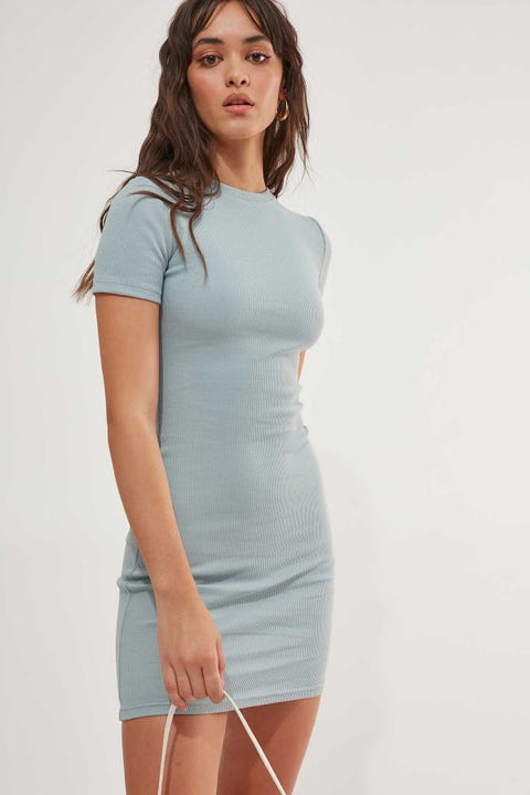 LUCK & TROUBLE Alba Mini Dress Dusty Blue