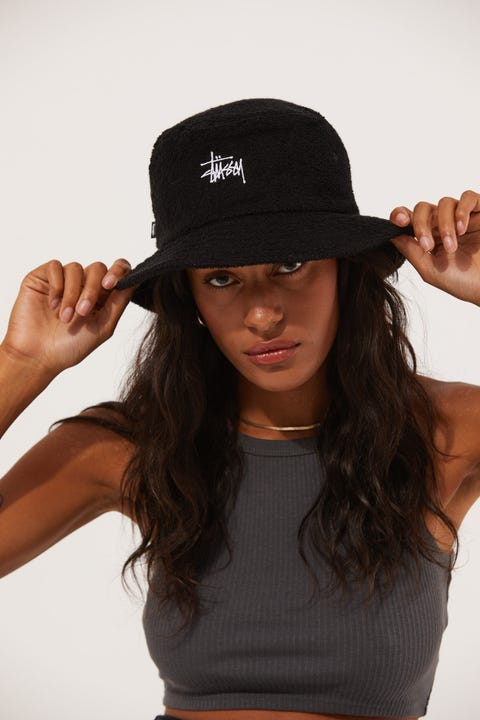 Stussy Graffiti Terry Bucket Black