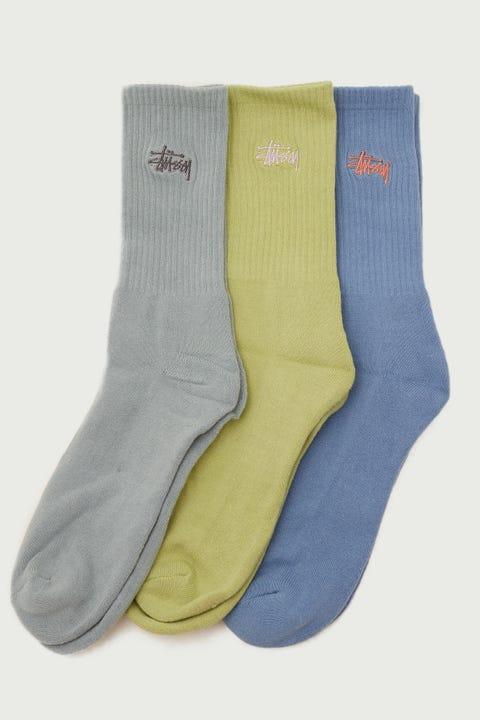 Stussy Graffiti Sock 3 Pack Pistachio/Blue/Mid Blue