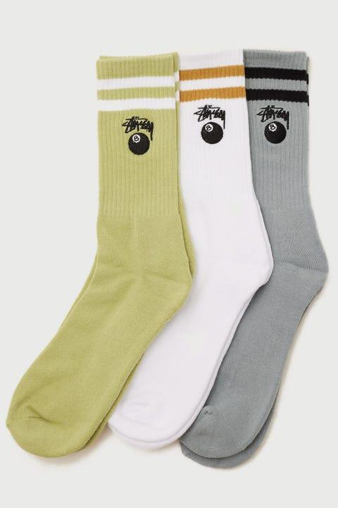 Stussy 8 Ball Stock Sock 3 Pack Pistachio/Mid Blue/White