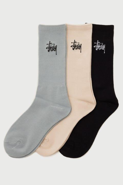 Stussy Graffiti Crew Sock 3 Pack Mid Blue/Neutral/Black