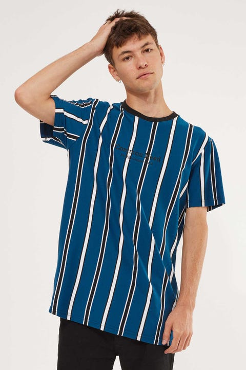 Common Need Realm Vertical Stripe Tee Blue/Black/White