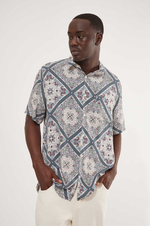Common Need Tesselation Party Shirt Bone/Teal Mosaic