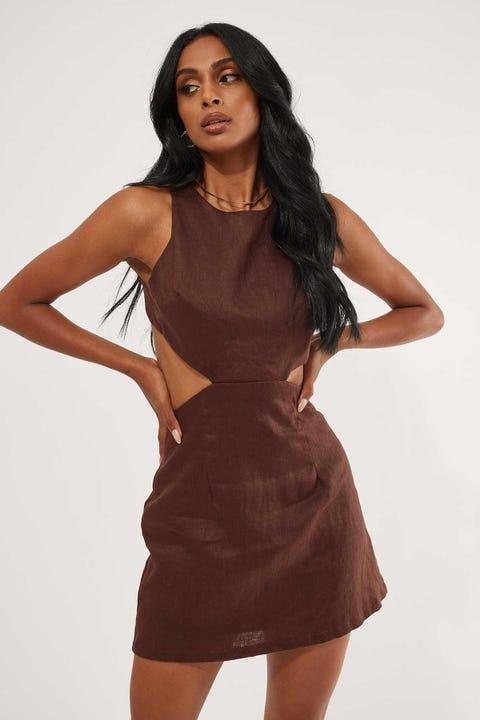 Perfect Stranger Manhattan Cut Out Mini Dress Chocolate