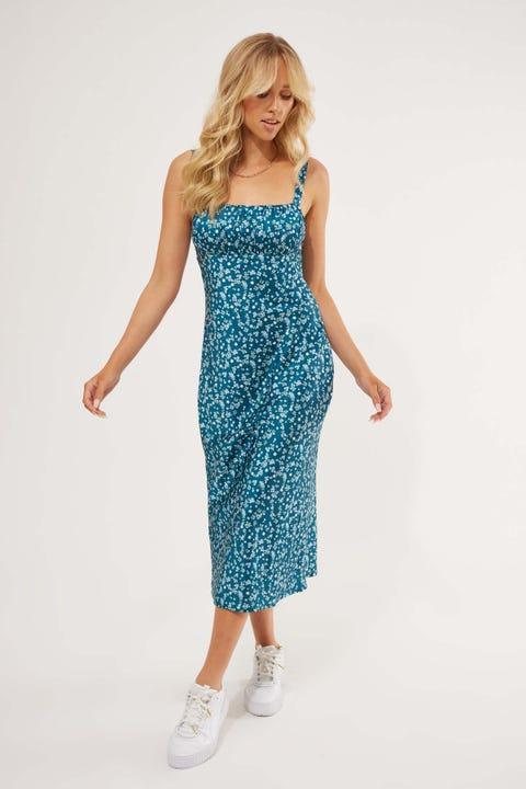 Perfect Stranger Aurora Satin Midi Dress Blue Floral