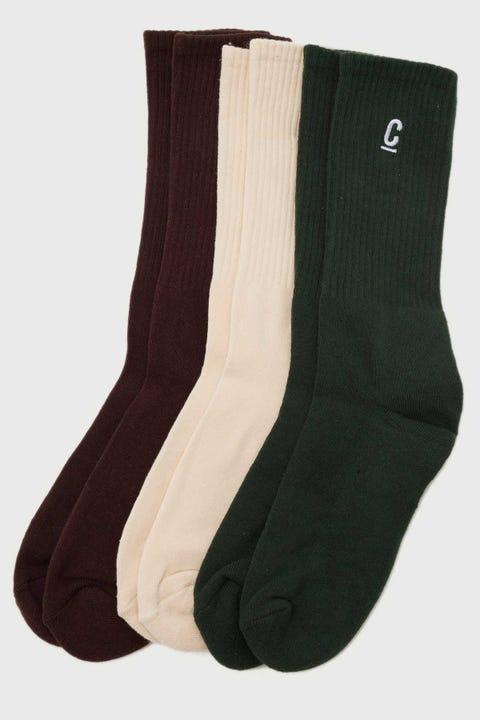 Common Need Ace Sock 3 Pack Green/Natural/Brown