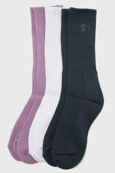 Common Need Ace Sock 3 Pack White/Orchid/Blue