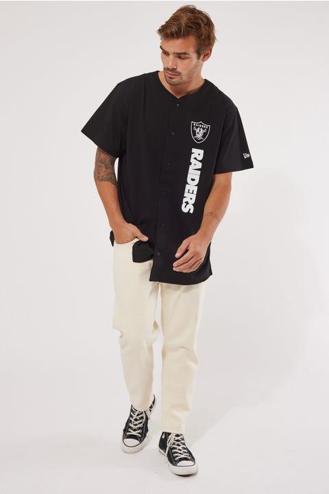 New Era Raiders Button Up Shirt Black