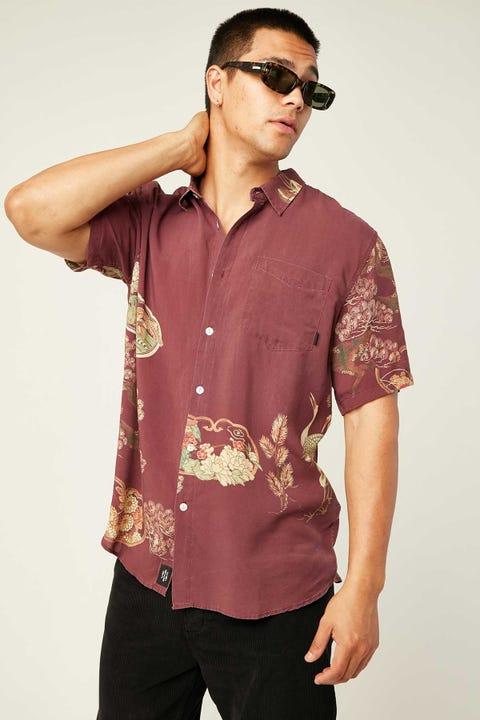THRILLS Facet Short Sleeve Shirt Red Wine