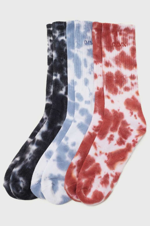 Common Need Tie Dye Pilot Sock Red/Blue/Black