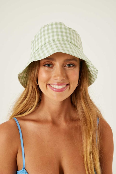 TOKEN Gingham Bucket Hat Green Check