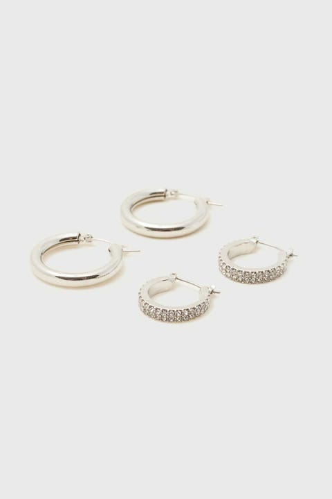 Token Double Hoop Earring Silver