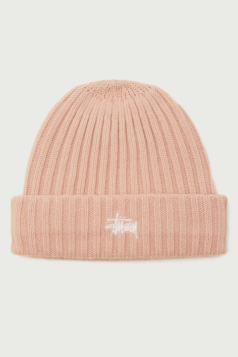 Stussy Graffiti Rib Knit Beanie Blush
