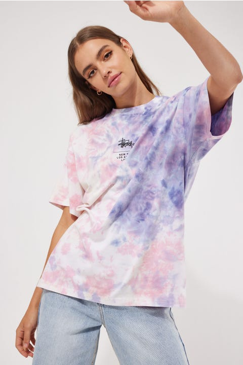 Stussy Cities Tie Dye Relaxed Tee Mauve