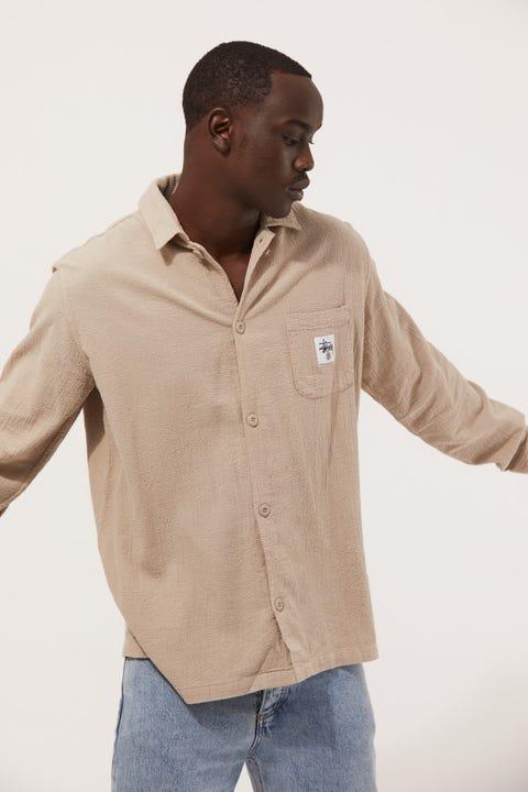 Stussy Grid Seersucker LS Shirt Taupe