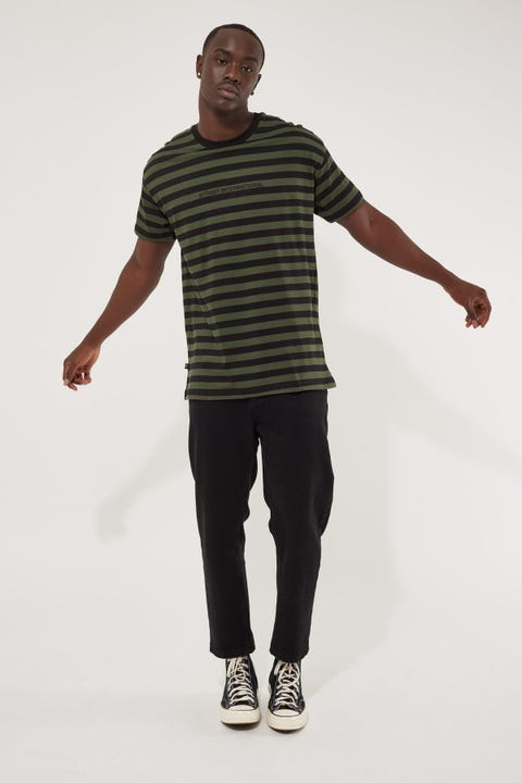 Stussy International SS Stripe Tee Flight Green
