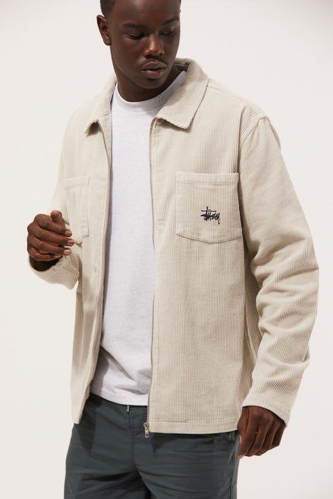 Stussy Tyler Cord Jacket White Sand