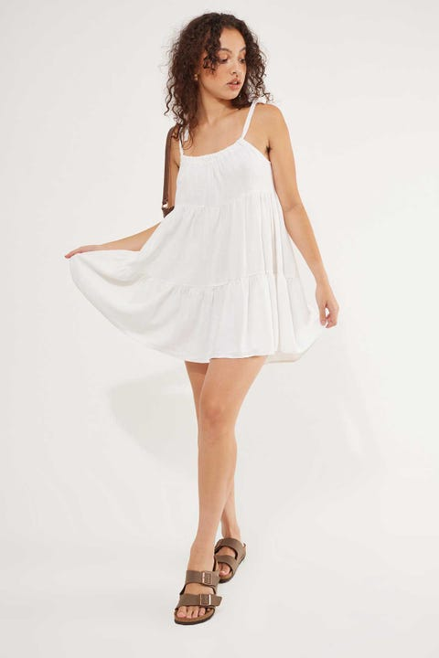 Luck & Trouble Seabreeze Tie Shoulder Dress White