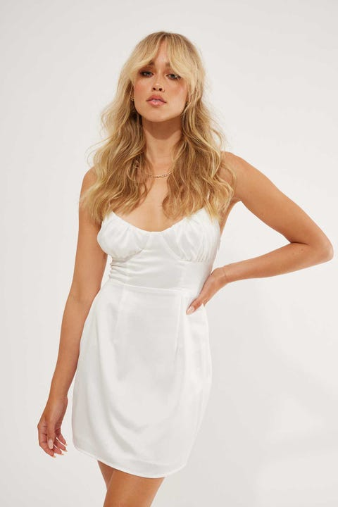Perfect Stranger Status Satin Dress White