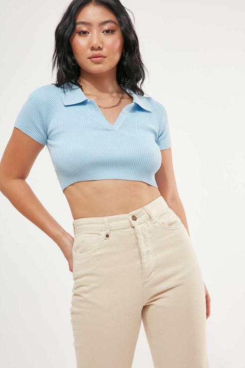 PERFECT STRANGER Collared Crop Baby Blue