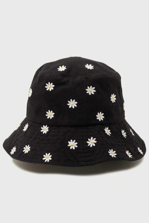 Token Daisy Embroidered Bucket Hat Black