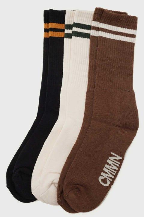 Common Need Jim Sock 3 Pack Black/Natural/Brown