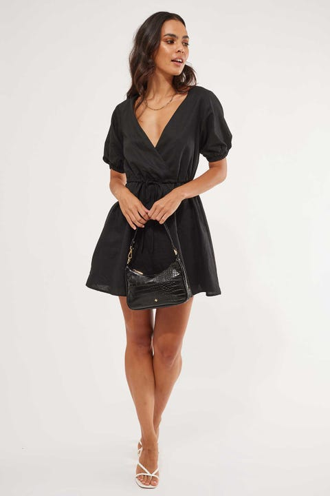 Perfect Stranger Faithful Wrap Front Dress Black