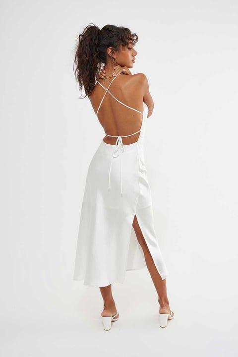 Luck & Trouble Lace Up Midi Dress White