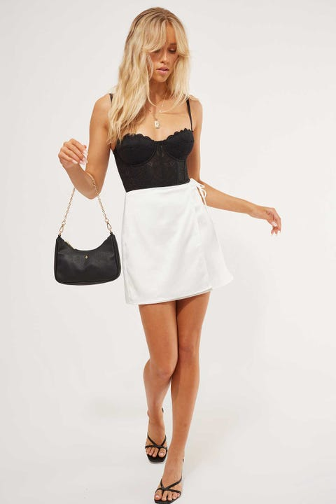 Luck & Trouble Wrap Front Mini Skirt White