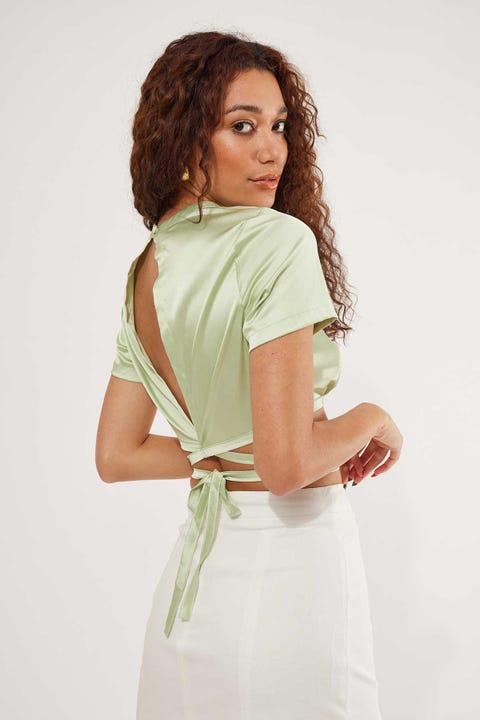 Perfect Stranger Satin Wrap Top Green