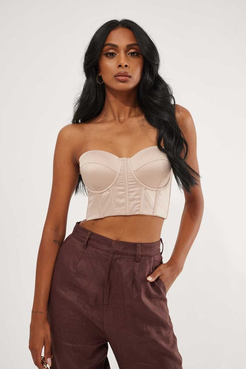 Luck & Trouble Satin Corset Top Nude