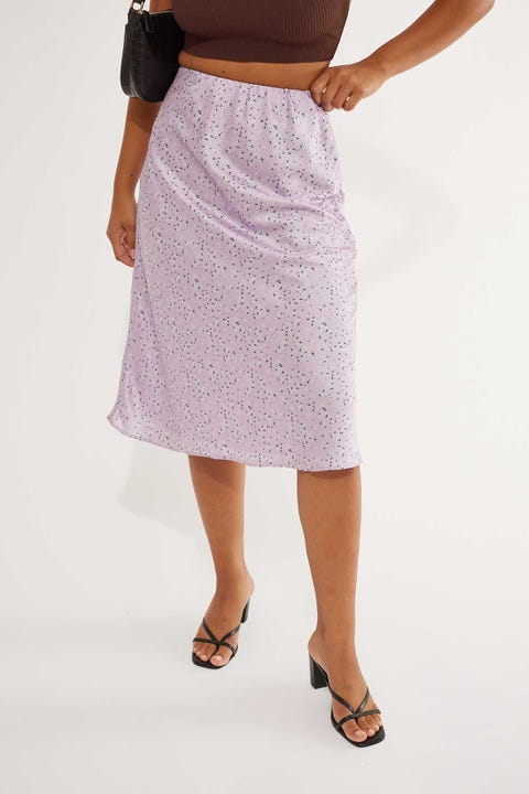 Perfect Stranger Little Dreamer Midi Skirt Purple Print