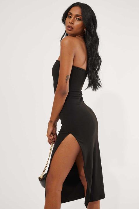 Luck & Trouble Strapless Midi Dress Black