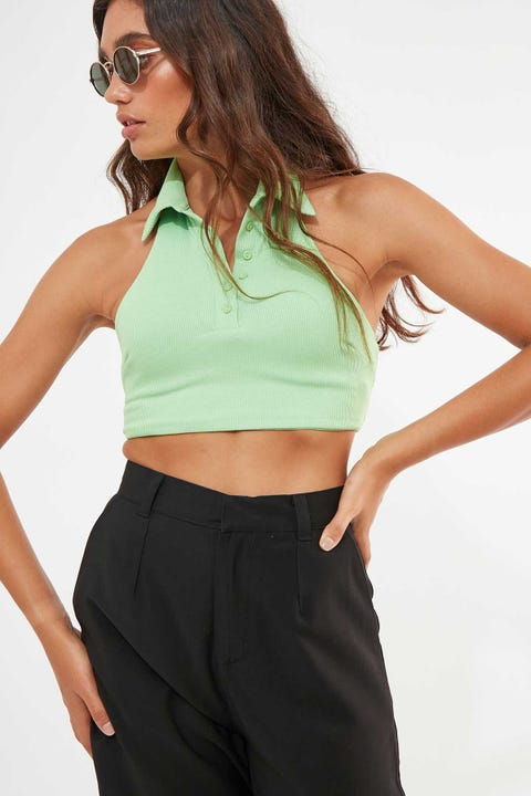Luck & Trouble Halter Neck Collared Crop Lime Green
