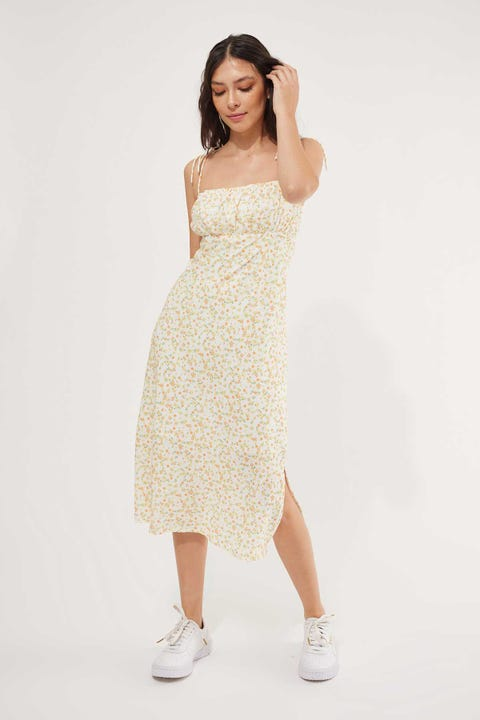 Perfect Stranger Sienna Floral Midi Dress White Print