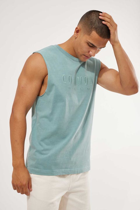 Common Need Sense Muscle Tank Mineral Blue