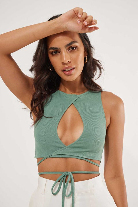 Luck & Trouble Late Nights Crop Top Green