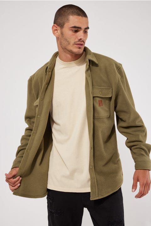Brixton Bowery Fleece LS Flannel Military Olive